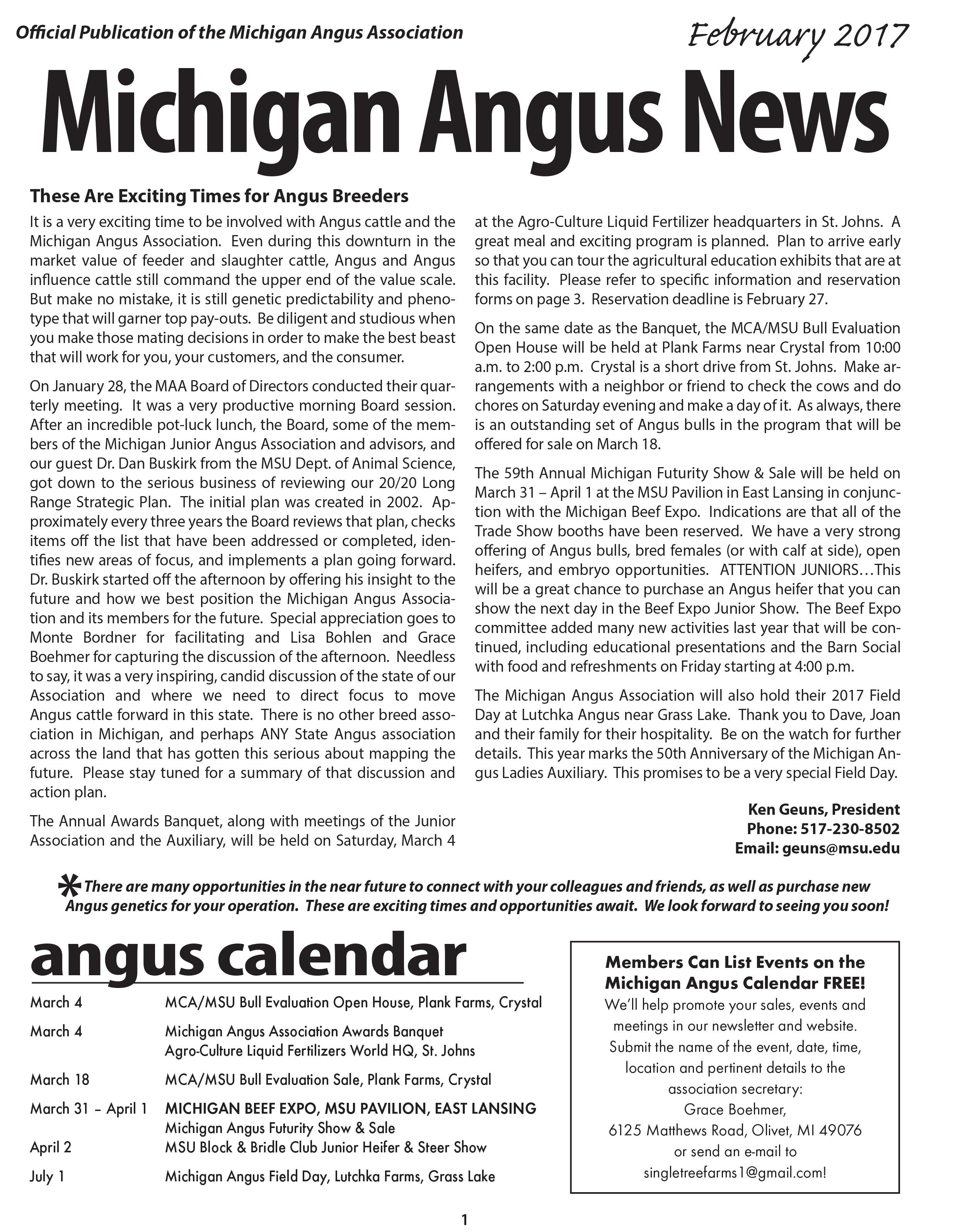 Michigan Angus News February 2017