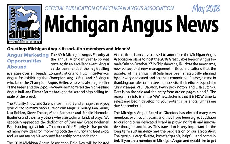 May 2018 Michigan Angus News