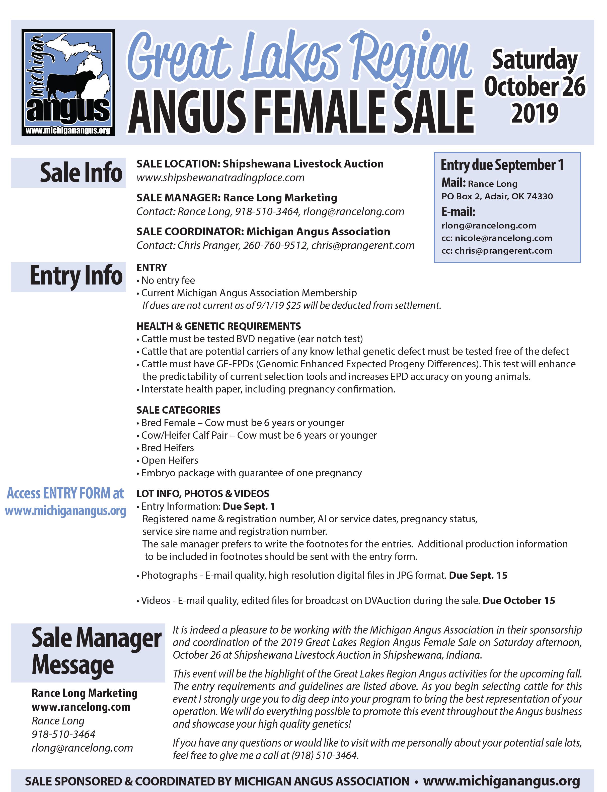 2019 great lakes region angus sale