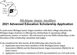 Michigan Angus Auxiliary Announces New Scholarship Opportunity
